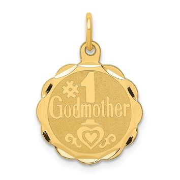 14K Yellow Gold #1 Godmother Charm