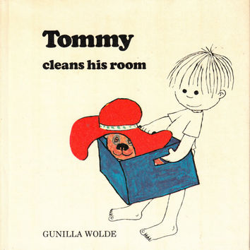 Tommy cleans his room