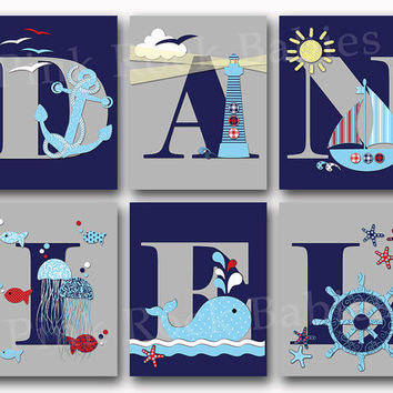 Nautical baby boy name art personalized nursery letters custom wall decor letterpress poster typography anchor whale shower toddler gift