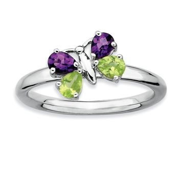 Sterling Silver Peridot and Amethyst Stackable Gemstone Butterfly Ring