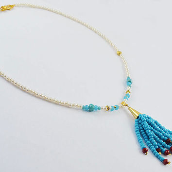 Blue and white seed beads short neclace with blue and red beads tassle handmade model