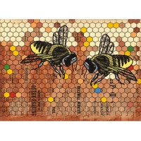 1890 Bees - Honeycomb Color Print Refrigerator Art Magnet
