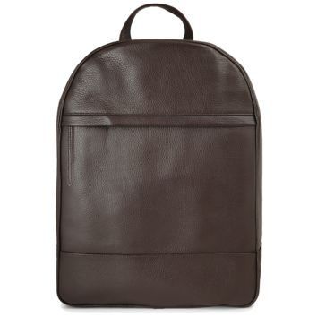 Grained Calf Leather Rucksack Brown
