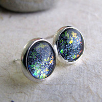 Hyperspace Post Earrings Sparkling Glitter by AshleySpatula