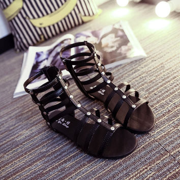 Black Strappy Bandage Button Hollow Out Zipper Peep Toe Flat Roman Sandals