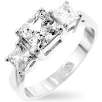 Princess Cut Triplet Anniversary Ring, size : 06