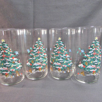 Libbey Woodland Christmas Tumblers Set of 4  Christmas Trees  Animals
