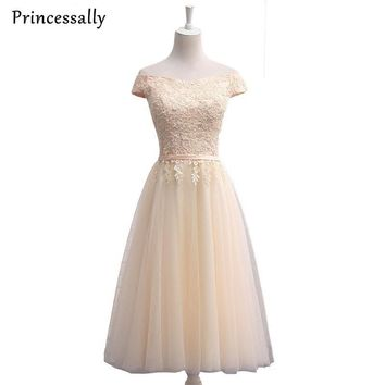 Cheap Champagne Bridesmaid Dresses Under 50 Tea-length Cap Sleeve Sexy Boat Neck Appliques Elegant Bride Prom Party Gown New