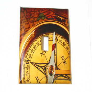 Light Switch Cover - Light Switch Plate Compass Map Nautical
