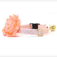 "Flower Cat Collar Set - ""Cotton Candy"" - Peach Pink Collar w/ Gold Dots + Detachable Flower"