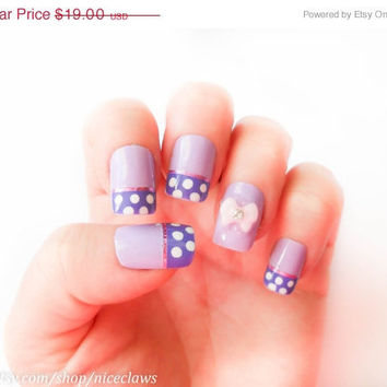 ON SALE Purple Minnie Mouse Fake Nails 3D Bows by niceclaws
