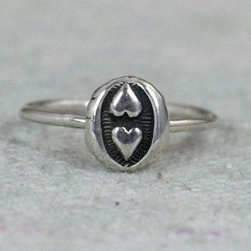 Unique Silver Bohemian Two Heart Ring