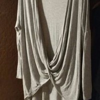 Grey Long Tunic Top Stretchy Knit Layer Lagenlook M by Los Angeles RMD