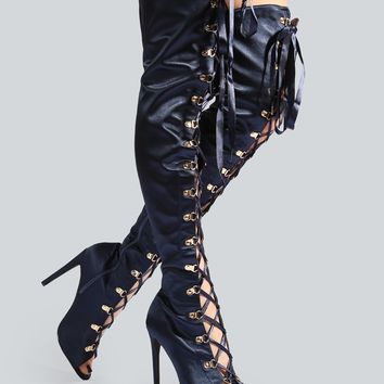 Satin Ribbon Lace Up Thigh High Boots ROYAL BLUE