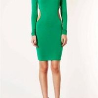 TOPSHOP GREEN EMERALD CUTOUT SIDES STRETCH BODYCON DRESS UK12 EUR40 US8