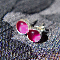 Ruby Earrings, Sterling Silver Post Style Earring with Ruby Cabochon Gem, Ruby Stud Earrings