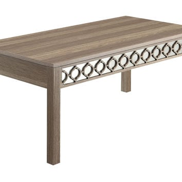 OSP Designs Helena Coffee Table With Mirror Accent Panel (Greco Oak Finish)