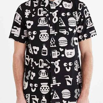 Lazy Oaf Bassman Short-Sleeve Button-Down Shirt- Black