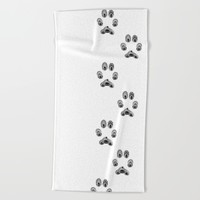 Cat Paw Print Beach Towel by LouJah