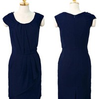 New Womens Navy Blue Cap Sleeve Peplum Belted Dress Size L Private Label large by Alisha's Fashion ** MAKE OFFER! SALE **
