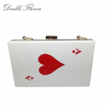 Women's Fashion Brand Evening Wedding Party Prom Casino Acrylic Handbags Bags Clutch Red Heart Poker Dinner Metal Clutches Purse