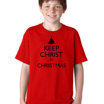 Keep Christ in Christmas Jesus Christian Tee T-Shirt for Kids