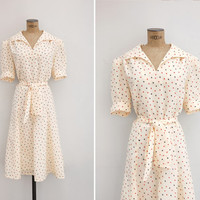 1970s Dress - Vintage 70s Cream Dress - Juego de Naipes Dress