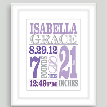 Printable DIY Newborn Baby Girl Birth Stats 8x10 Wall Art Print Nursery Gift - PDF File