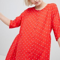 Monki Button Through Polka Dot Smock Dress at asos.com