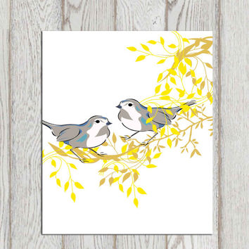 Birds wall art printable Bird decor print Love birds Yellow gray home decor Gray bird wall art Grey Nursery art Birds tree Foliage DOWNLOAD
