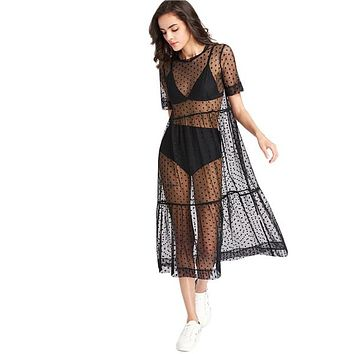 Mesh Short Sleeve Dress