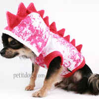 Dog Costume Dinosaur Spikes PINK fleece Halloween Hoodie