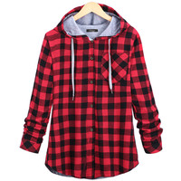 Women's Fashion Cotton Autumn Winter Coat Long Sleeve Red Plaid Casual Button Hooded Sweatshirt Hoodie