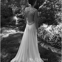 Cheap White Sequin Floor-Length Chiffon Wedding Dress, Wedding Gown, Bridal Dresses, Bridal Gown, Lace Wedding Dresses, Formal Dress