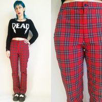 90s Clothing Plaid Pants Polo Jeans Co. Ralph Lauren Vintage 90s High Waisted Pants Red Plaid Pants 90s Polo 90s Ralph Lauren Womens Size 8