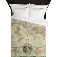 Bowles Antique Map Queen Duvet Cover