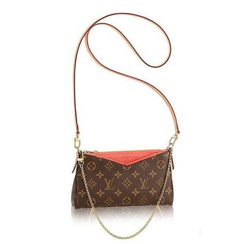 DCCK7BE Authentic Louis Vuitton Monogram Canvas Pallas Clutch Handbag Poppy Article: M41733 Made in France