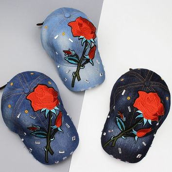 Rose cloth denim hat