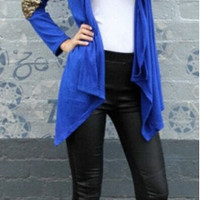 Solid Color Sequin Open Front Cardigan