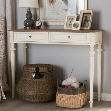 Baxton Studio Marquetterie French Provincial Weathered Oak and Whitewash Console Table Set of 1