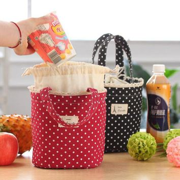 Casual Portable Lunch Bag Dots Insulated Canvas Thermal Food Picnic Lunch Bags For Women Kids Cooler Lunch Box Bag Tote
