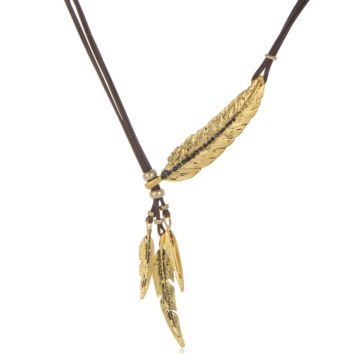 Feathers and leaves diamonds black leather rope multi - layer fringed necklace women chain clavicle chain