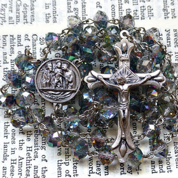 Holy Family Rosary - Catholic Rosary, Faceted Aurora Borealis Crystal Rondelle Beads