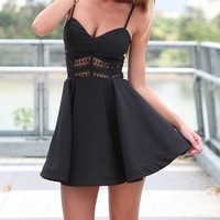 Womens V-neck Spaghetti Lace Splicing Sleeveless Short Skater Mini Dress