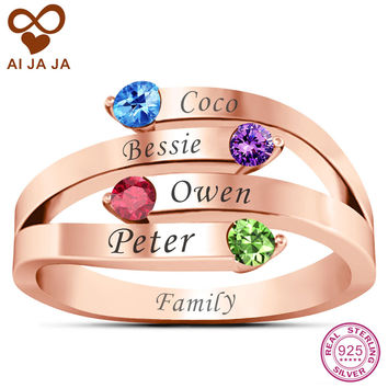 AIJAJA 925 Sterling Silver Personalized Family Names & Birthstone Mom Ring Customized Rose Gold Color Free Engraving Mother Ring