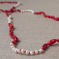 Long necklace seed pearl red coral hand beaded necklace Layering necklace Sweater chain Modern pearl design Beach boho jewelry Resort style