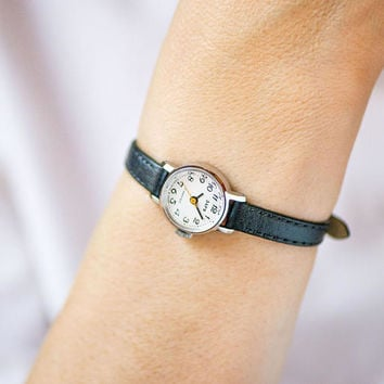 Very small women's wristwatch vintage, micro watch black white, classic lady wristwatch Dawn, petite watch gift, premium leather strap new