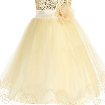Gold Sequin Party Dress with Lettuce Hem Tulle Skirt Baby Girls 3M-24M