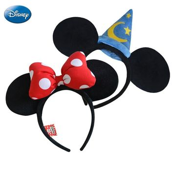 Original Disney Headband Mickey Minnie Mouse Headdress Head  Minnie Ears Girls Hair Bands Princess Head Hoop Plush Toys Keychain