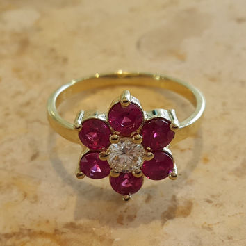 Art Deco Flower RIng Yellow Gold With diamonds and ruby, Engagement Ring, Ruby Ring, Diamond Ring, Gem Ring, Gemstone Ring